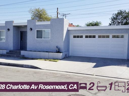 2728 Charlotte Av Rosemead, CA  | 2 BED | 1 BATH | +2K SQ FT LOT