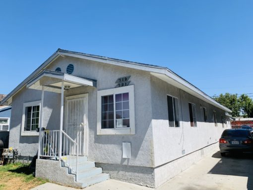 719 E 76th Pl Los Angeles, CA 90001 | Unit 1:  4 Bed 2 Bath – Rent $1,800 Unit 2:  4 Bed 2 Bath – Rent $1,700 Total Liv spc:  2,178 sqft.  Lot:  5,105 sqft.